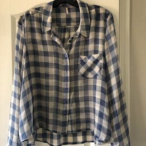 Free People checkered button down shirt